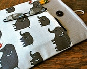 13 inch laptop Macbook Mac book Air / Pro Cover Padded Case Sleeve - Linen with Kokka Linen Grey Elephant Fabric Pocket