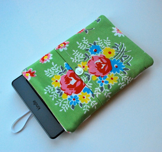Kindle Nook eReader Sleeve , Kindle Case , Kindle Cover , Kindle Fire - Denyse Schmidt Green Flower