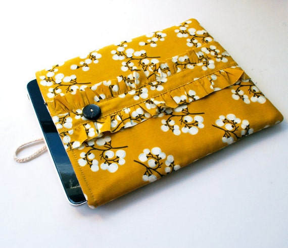 iPad Cover Padded iPad Case Sleeve - Chic Curry Cotton w/ Shabby Ruffle...Closeout Price- Last One - Ready to Ship