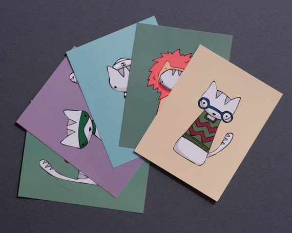 10 Cat Character Postcards