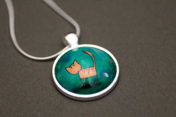 Yellow and Green Cat Necklace - Pendant