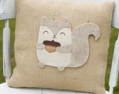 Quirky- Decorative Felt Squirrel Burlap Pillow 14x14
