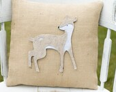 My Dear- Decorative Felt Deer Burlap Pillow 14x14