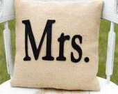 Ma'am- Decorative Felt Mrs. Burlap Pillow 14x14