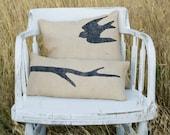 Decorative Hand Painted Stenciled Bird and Branch Burlap Pillow 16x16, Lumbar Pillow 18x9