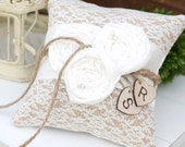 Burlap with Lace Rustic Ring Bearer Pillow and Chiffon Flowers with Personalized Hearts