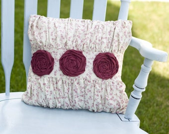 Decorative Maroon Rosette And Ruffle Floral Print Pillow 14x14