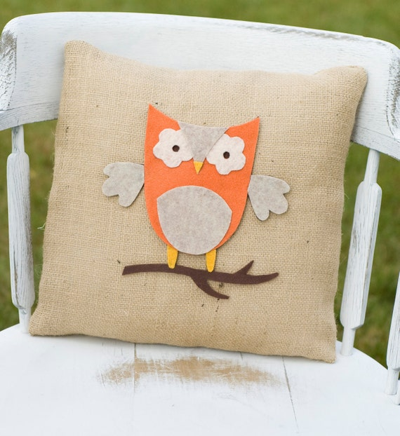 Burlap Throw Pillows Etsy : Items similar to Hoot- Decorative Felt Owl Burlap Pillow 14X14 on Etsy