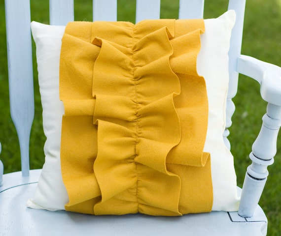 Items similar to Decorative Mustard Yellow Wool Felt Ruffle Pillow 16x16 on Etsy