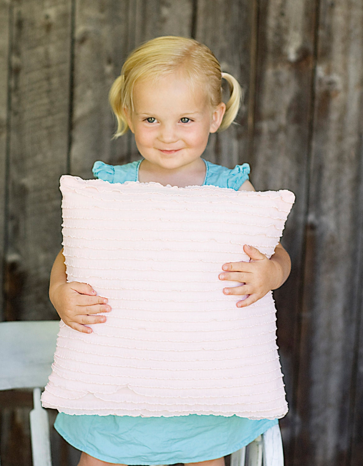 Light Pink Ruffle Throw Pillow : Decorative Light Pink Ruffle Pillow 14x14