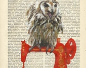 Dynamic Owl Lecturing Fashion Students - ORIGINAL ARTWORK on 1863 Welsh literary journal page, Hand Painted mixed media by Rita Reverie