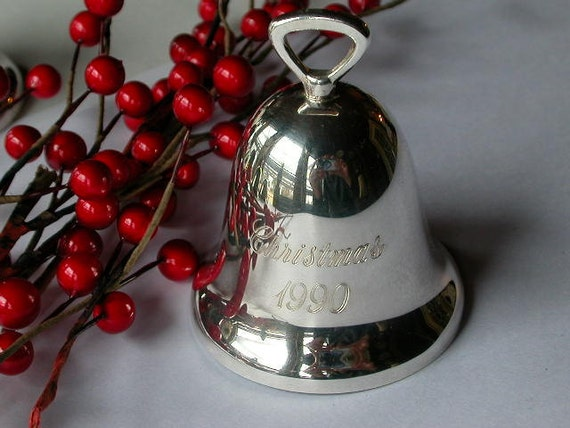 Christmas bell engraved silverplate hand crafted by