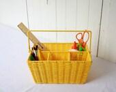Back to School Yellow Storage Basket with Handle Vintage Multi Use Picnic Organizing