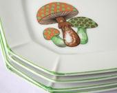 Vintage Mushroom Plates Woodland Set of 4 Salad or Dessert Plates