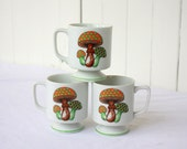 Mushroom Coffee Cups Woodland Polka Dots Set of 3