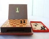 Vintage Chess Pocket Game 1940s Wood Book Drueke Brand