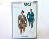 Vintage Mens Pattern Simplicity 8724 Extra Tall XL Man Lined Jacket and Vest UNCUT - 50% off SALE Was 10.00