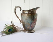 Vintage Silverplate Pitcher, Water Pitcher, Hollywood Regency, Party Serveware, Patina, Casual Wedding