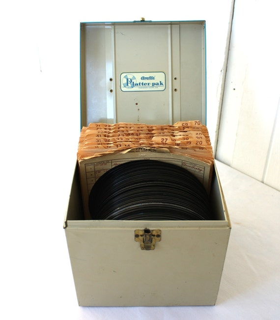 Vintage Records, Record Collection, Record Case, Amfile Platter-Pak LPs 45s Record Collection 63 Records