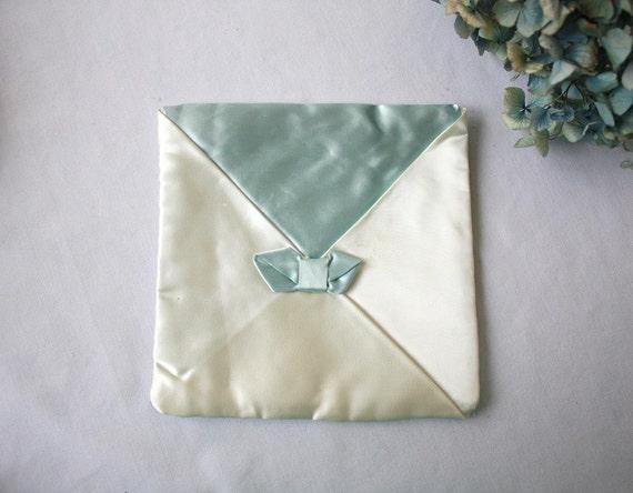 Vintage Satin Lingerie Bag Envelope Bridal Gift Something Blue Romantic Casual Bride