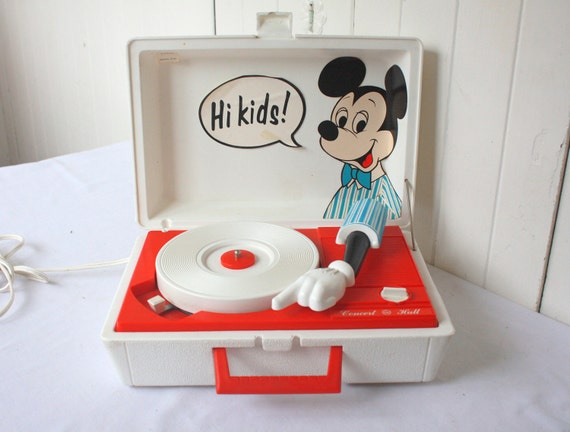 Vintage Mickey Mouse Record Player Disney 1960s