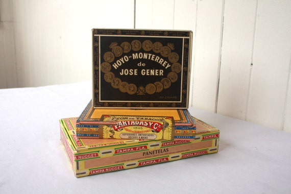Vintage Cigar Box, Old Cigar Box, Set of 3 Storage Organization Project
