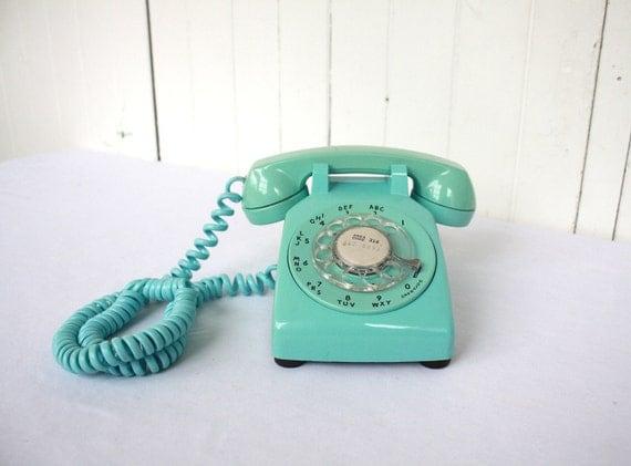 Retro Phone, Vintage Phone, Rotary Phone, Turquoise Phone, Telephone