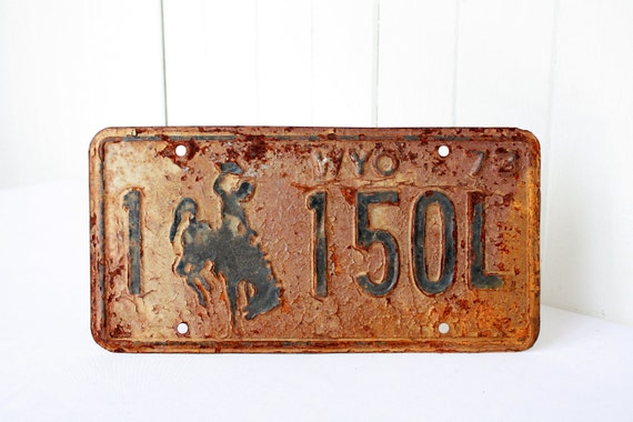 Fathers Day, Vintage License Plate, Wyoming License Plate, Wyoming Cowboy, Rusty Licence Plate