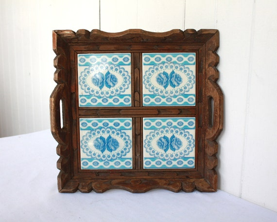 Vintage Tray, Serving Tray, Wood and Tile Tray, Carved Wood Tray, Blue and White Tray, Wood Tray