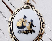 "Handmade CAMEO Necklace in Black ,White & Gold -Glass Cameo on Vintage Black Glass Beaded Chain --""The Golden Promise"" OOAK"