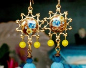 "Handmade GLASS EARRINGS Blue & Yellow - ""Sun, Sand and Surf"" - Vintage Glass Foiled Cab, Glass Dangles, Swarovski Pacific Blue,Bohemian OOAK"