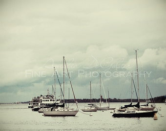 Sailboats on the Stormy Harbor - Fine Art Photography