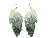 Feather Grey and White Ombre Lace Earrings