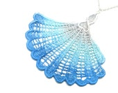 Lace Necklace Nautical Seashell Tan and Blue Ombre - Customizable Colors Hand Painted