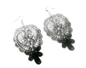 Lace Earrings - Ombre Flower in Black Grey - Hand Painted in Customizable Colors - Lace Fashion