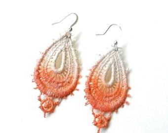 Lace Earrings in Orange White Ombre