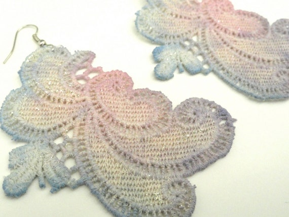 Lace Earrings Hand Dyed - Vintage Inspired - Blues, Pinks and Lavenders with Glitter Accents - Customizable Colors   )-( CHLOE )-(