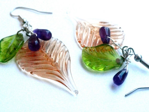 Glass Beaded Earrings w/ Amethyst  Stones - Leaves Grapes