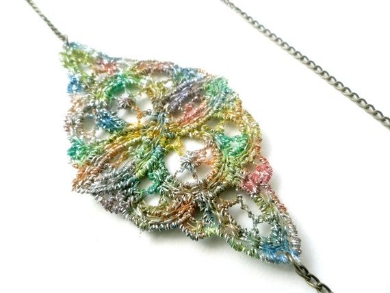 Lace Necklace Hand Painted Multicolored Rainbow