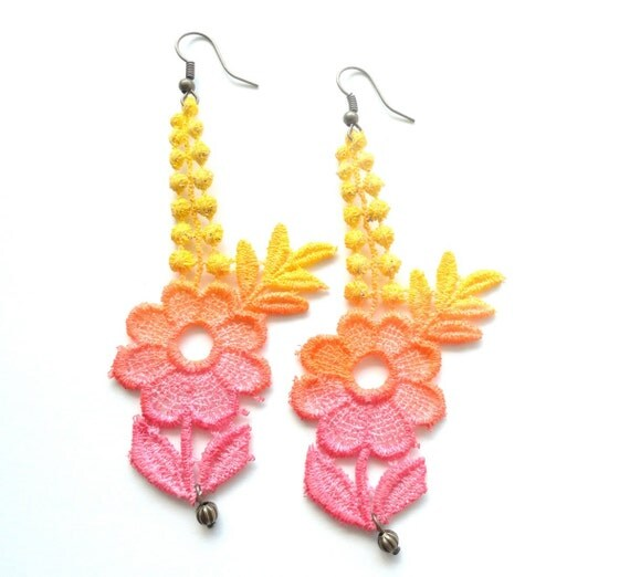 Lace Earrings Hand Dyed - Fashion Red Orange Yellow Flowers  with Antiqued Bronze Accents- Customizable Colors   )-( LAURIE )-(
