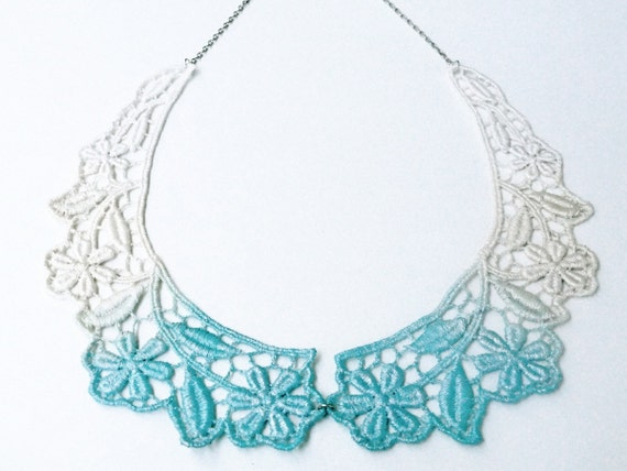 Collar Necklace Hand Painted Lace Jewelry - Ombre Blue and White Peter Pan Bib