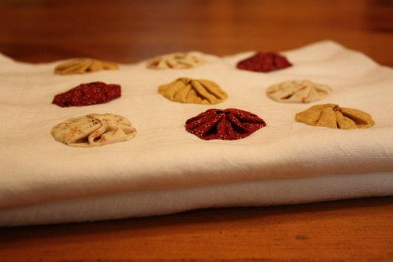 Flour Sack Dishtowels: Cotton Red, Soft Yellow, Gold, Vintage Feel, Yoyo Square