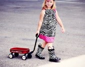 Girls Zebra and Hot Pink Polka Dot Pillowcase Dress sizes 6 mo - 8 yrs