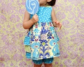 The Layla - Reverse Knot Bustle Ruffle Dress Green Turquoise Blue Damask Polka Dot bloomer outfit