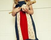 Baseball Dress -  Denim and baseball Knot Dress sizes 6 mo - 12 yrs