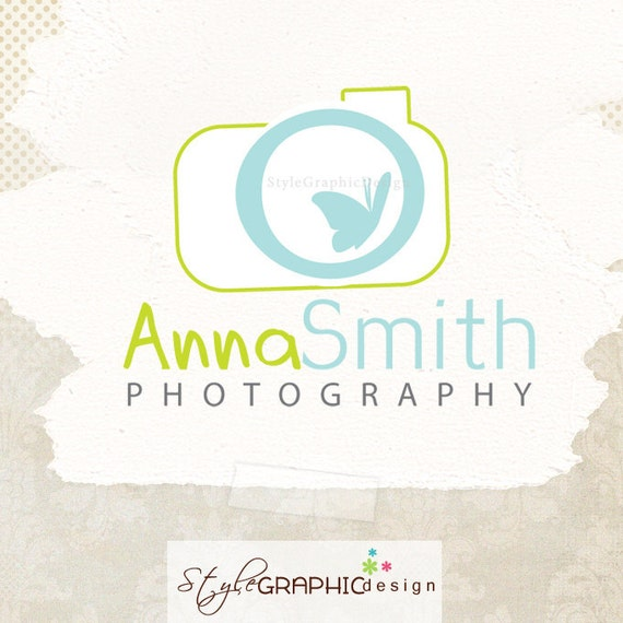 Logo Design Premade OOAK - Cute camera with little butterfly  Business Photographer Logo Branding and watermarks