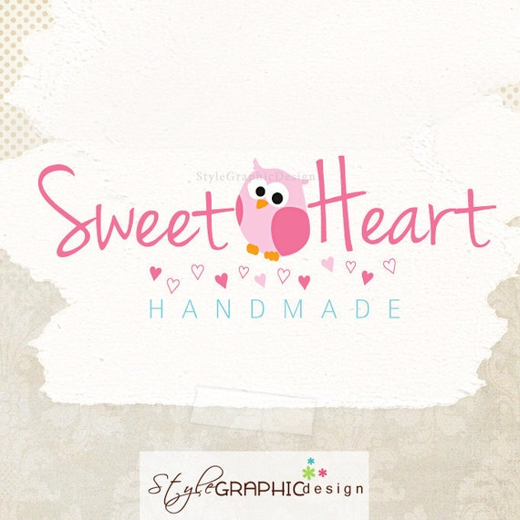 Cute owl premade logo design ooak logo with tiny hearts boutique logo business logo and watermark