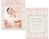 Sweet Reverie, 5x7 Flat Vintage Damask Card Template for Graduation, Birth and Any Occassion Announcements.