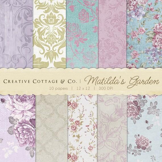 Matilda's Garden Vintage Rose Digital Papers for Blogging and Scrapbooking
