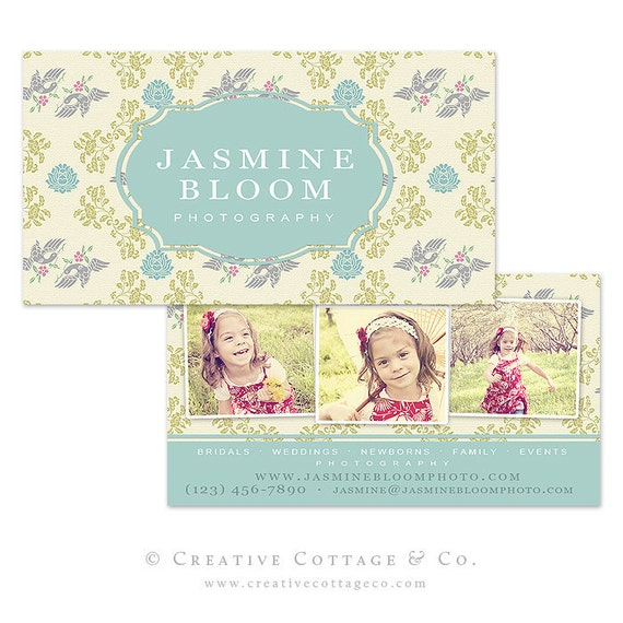 Paris Bloom- Shabby Vintage Business Card Template PSD file, WHCC Spec